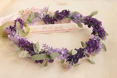 lavender flower hair wreath flower crown flowers by minehandcraft