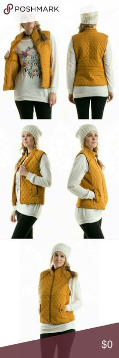 Fur Lined Quilted Vest Fur lined quilted vest. Shell: 100% Polyester, Lining: 100% Polyester. Color: Mustard. **Free Shipping: Submit offer for $6 less and I will accept.** Jackets & Coats Vests