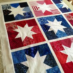 Red, white, blue Quilt LOVE