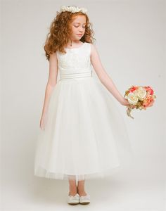 Divine Tulle and Satin Dress with Floral Applique Accents | eFavorMart