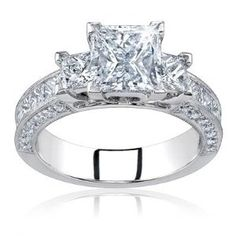 2.00 Carat Total Princess Cut Certified Diamond Three 3 Stone Engagement Anniversary Ring 14k Solid White Gold D VS2/SI1.  List Price: $1,799.00