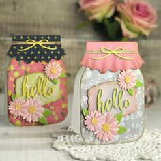 Mason Jar Tags, Mason Jar Gifts, Fun Fold Cards, Cool Cards, Diy Cards, Honey Bee Stamps, Shaped Cards, Cricut Cards, Jar Crafts