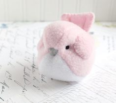 Kids Light Pink Bird Stuffed Animal Childrens Handmade Plush