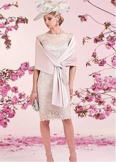 Glamorous Lace Jewel Neckline Knee-length Sheath Mother Of The Bride Dresses With Shawl