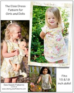 Sew Sweet Patterns Elsie girl and doll dress pattern - too cute! Fits American Girl or Bitty Baby