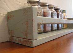DIY Painted Wood Spice Rack  (doing this too!) #farmhousekitchen #country