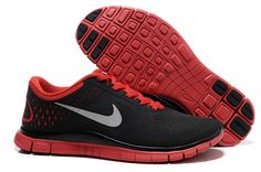 Mens Nike Free 4.0 V2 Cool Grey Platinum University Red Silver Shoes