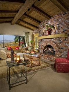 Mediterranean Spaces Fireplace Design, Pictures, Remodel, Decor and Ideas - page 3...reminds me of est.70's style Calif. ranch