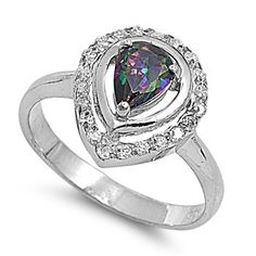 Netty's 2CT Pear Cut Rainbow Topaz Cubic Zirconia Solitaire Ring