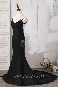 Black satin and lace V neck long chapel train evening formal dress Semi Formal  Dresses 742b4bb8f23f