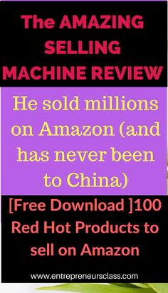 Amazing Selling Machine is a training course that teaches you how to sell products on amazon.com.Check it out and download 100 red hot products you can sell on amazon.right now.