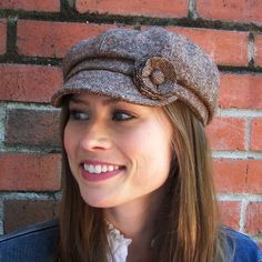 Womens Newsboy Cap , Womens Hats, Brown, Ivory Wool Tweed  MADE TO ORDER In Your Size. $28.00, via Etsy.