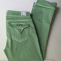"Soft Sage Hudson Crop Jeans Beth Crop, Baby Boot, 27"" inseam. These jeans are awesome! Pretty soft sage color. Stretchy and soft. Ordered online, too small for me. Please note: one of the seams on the back has come apart in two small places, this could be easily fixed! New without tags. Open to offers! Last pic from website. Hudson Jeans Jeans Ankle & Cropped"