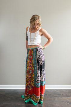 Ethnic Print Maxi Skirt