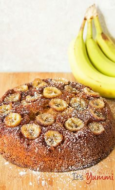 Caramelized Banana Skillet Cake Recipe - made with a yogurt protein smoothie instead of milk so it's a healthier snack or dessert.
