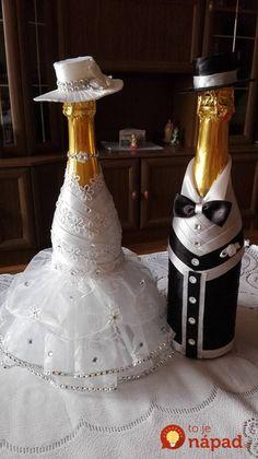 wedding bottle decoration,decorative bottles,bride and groom wine bottle covers,pimped bottles wedding,wedding decoration Wedding Wine Bottles, Champagne Bottles, Wine Bottle Crafts, Bottle Art, Craft Wedding, Wedding Decorations, Bottle Decorations, Wedding Table, Table Decorations