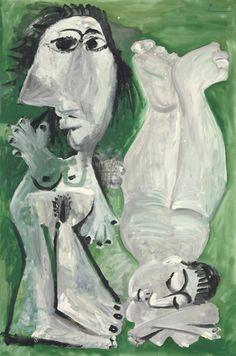 Pablo Picasso (1881-1973) Deux nus couches  (via: christiesauctions)