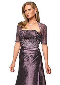 Alyce 29240 Bolero Jacket Long Strapless Mother of the Bride Dress, Aubergine, 10