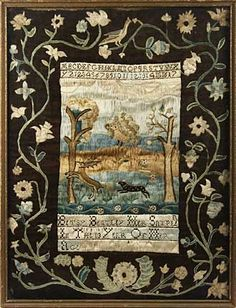 "Lot 55. RARE EARLY AMERICAN SAMPLER— important 1781 Boston schoolgirl silk on canvas sampler by Betsey Bentley, aged 12, rendered in satin stitch, w/ ""linsey-woolsey"" border, 21"" x 16"" overall, 13¼"" x 8½"" central panel."