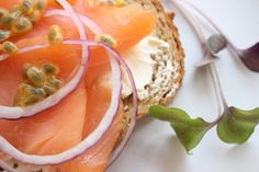 Cold smoked salmon with passion fruit