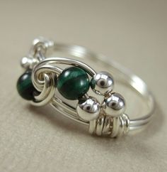 Malachite Ring Wire Wrapped Sterling Silver Duet -- Any Size on Etsy, $23.00