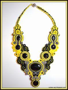 Black&yellow big soutache necklace