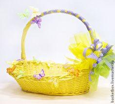 """Корзинка для подарков """"Бабочки"""" - жёлтый,корзинка,корзина для подарков"""