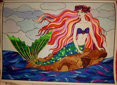 colored with gel pens, markers and color pencil Mermaid Coloring Book, Coloring Book Art, Coloring Pages, Tarot, Mermaid Pictures, Z Arts, Gel Pens, Colored Pencils, Fantasy Art