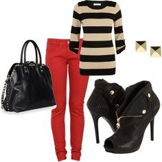Stripes and red pants, rock on.