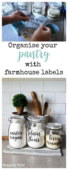 Using some Ikea Korken Jars and some labels see how to Organise your Pantry Using Farmhouse Labels to make things easier in your kitchen | ..