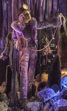 A 2015 Bergdorf Goodman Christmas window in its Brilliant Holiday series. This window was so hard for me to shoot due to its lighting: dark purple and dark blue with an occasional white spotlight.