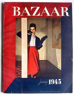 Bazaar in bold red/blue Fashion Magazine Cover, Magazine Cover Design, Magazine Covers, Vintage Fashion Photography, Fashion Photography Inspiration, Vintage Advertising Posters, Vintage Advertisements, Alexey Brodovitch, Old Magazines