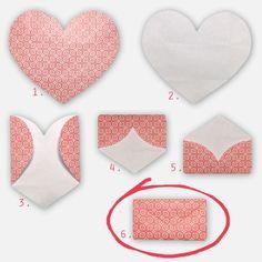 envelope de coração origami passo a passo