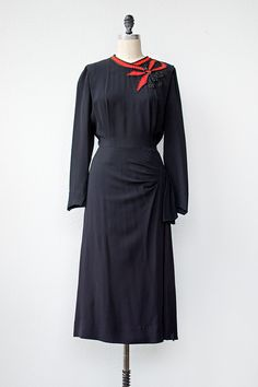 vintage 1940s black dress with red ribbon detail