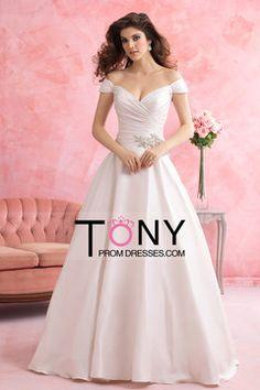 2015 Wedding Dresses Off The Shoulder A Line Court Train With Applique $199.99 TPP4CLGSFE - TonyPromDresses.com for mobile