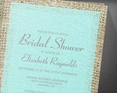 Teal Silver Vintage Burlap Bridal Shower Invitation