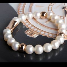9-10mm Cultured Pearl Bracelet with Rose Golden Ball- $56.99
