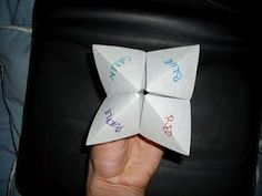Paper fortune teller | Who didn't make one of these!  How many school crushed were decided with a flick of a finger, how many fortunes actually came true...