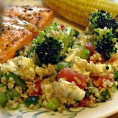 Quinoa Salad with broccoli, tomato, and mozz