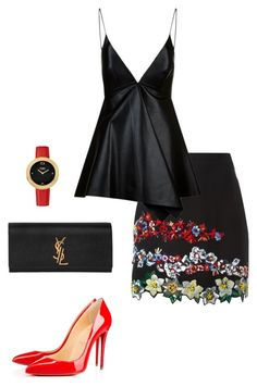 Untitled #464 by nadiralorencia on Polyvore featuring polyvore fashion style Valentino MSGM Christian Louboutin Yves Saint Laurent Fendi clothing