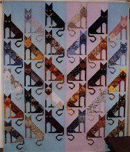 Diagonal Cats Quilt x