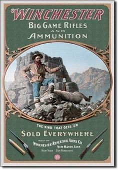 This Winchester Big Game Hunting Rifles Ram Tin Sign features a vintage-style reproduction graphic. Great metal sign for a hunting or shooting cabin. Vintage Tin Signs, Vintage Labels, Vintage Ads, Vintage Posters, Vintage Style, Big Game Hunting, Hunting Art, Hunting Rifles, Deer Hunting