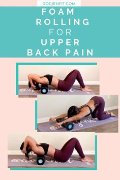 I love foam rolling for relieving back pain. Here are THREE amazing foam rolling stretches for upper back pain. These exercises will teach you how to use passive foam rolling to find back pain relief and improve thoracic spine mobility. Click here to watch the video (or read the blog post) on how to foam roll safely and properly! #foamrolling #upperbackpain #backpain Upper Back Pain Exercises, Lower Back Pain Causes, Back Stretches For Pain, Lower Back Pain Relief, Back Pain Yoga, Roller Workout, Foam Roller Exercises, Back Pain Remedies, Stress