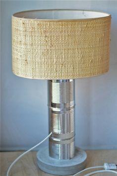 Oro y Menta: DIY: Lampara con latas recicladas y cemento