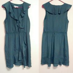 BCBGeneration olive green dress Frilly dress, good condition. 100% Polyester. Make an offer! BCBGeneration Dresses