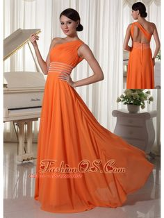 Orange Chiffon One Shoulder Prom Dress With Ruch and Beaded Decorate Waist Brush Train  http://www.fashionos.com  This white prom dress is so exquisite that will make you the most popular one. It features one shoulder with the ruching all over the bodice. The skirt is long and flowing that moves graciously when you walk. Bring it to your home, and you will can not wait to attend the prom.