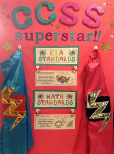Challenge each student in your class to be a Common Core State Standards (CCSS) Superstar!  Instead of using tape or velcro, organize all of your standards with simple ring clips.  Easily flip to new standards for whatever lesson is being covered that day.  For more fun, have a student come up, put on an awesome cape and read the I can standard statement.  They become CCSS superstars/superheroes!  Posters for Grades K-6 are available at Jason's Online Classroom! $$