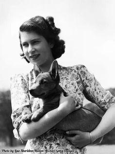 Queen Elizabeth II and her first Corgi Susan, 1944