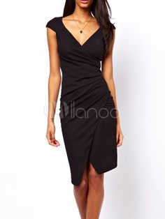 Elegant,Stylish designer and Body-con Dresses Black V-Neck Front Split Bodycon Dress  I wore this dress to my relatives get together,and received so many words of flattery.It forms my body well,