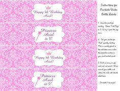 Water bottle labels for princess party
